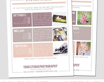 INSTANT DOWNLOAD, Packages Sell Sheet + A la Carte Pricing Template, Photography Marketing Template, 8.5 x 11 size, Newborn, Seniors, Family
