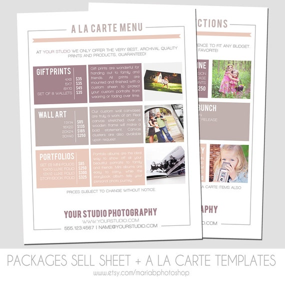 Instant download packages sell sheet a la carte pricing Interior design welcome packet