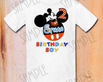 T-shirt Disney Mickey Mouse Iron On Transfer Printable Birthday Boy digital download Personalized, Mickey Mouse printable