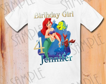 Disney Little Mermaid Iron On Transfer, Disney Princess, Customizable item Birthday Shirt, Digital Download Little Mermaid Birthday Girl