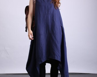 Women's retro plus size clothing pullover pleated long linen dress loose fitting maxi dress(80524)