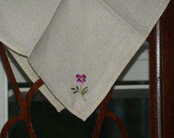 Linen Napkin Embroidered Pansy Linen Napkin