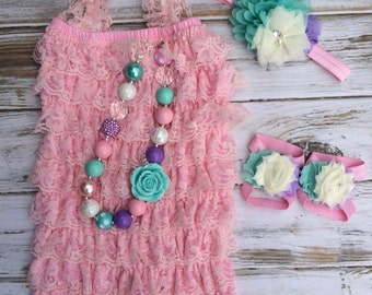 Baby Pink and Pastel Lace Romper 4 pc Set Cake Smash, First Birthday, Photography Prop, Chunky Necklace - Petti Romper - Bubblegum