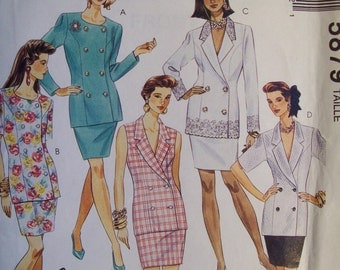 McCall's 5879, sizes 10, 12, 14.  Misses' Two-piece dress. Pattern is uncut and FF.