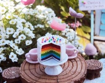 Fairy Garden Miniature Rainbow Cake, Dollhouse Miniature Rainbow Cake, Polymer Cake, Dollhouse miniature food, miniature food