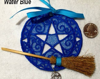 Altar Pentagram Lace- Home Protection Ornament -Wicca Pagan Gifts -Besom Broom