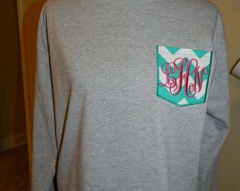 Little Girls Monogrammed Pocket Tee with choice of New Pocket Styles - Long Sleeve