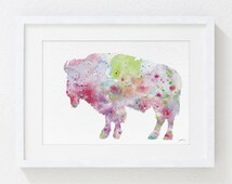 Colorful Bison Watercolor Painting - 5x7 Art Print - Bison Print - Spring Colors - Pastels - Red, Pink, Green, Purple, Light Blue