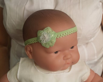 Baby Green Head Lace, Infant Baby Girl Green Stretch Lace Headband, Baby Shower Gift, Green Outfit,