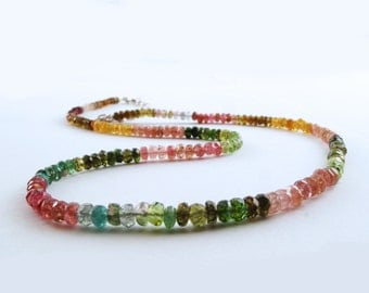 Watermelon Tourmaline Gemstone Necklace with  Sterling Silver findings, 4 mm Tourmaline Beads, Adjustable Size GGB2