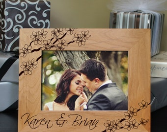 Design's 'Cherry Blossoms' Personalized Spring Wedding Picture Frame with Font Selection (Choose Size and Frame Orientation)