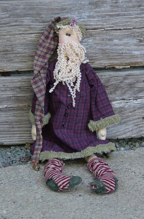 "Pattern: Santa - 18"" Primitive Rag Doll"