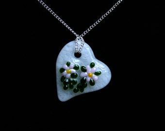 Fused glass 'Flora' pendant. Palest pink flowers on a white heart glass pendant. (choose sterling silver or silver plated chain) Romantic!