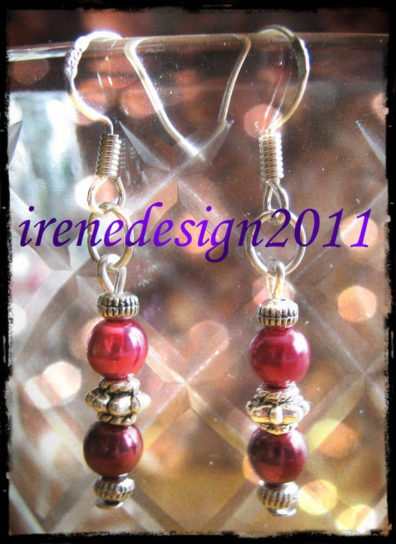 Handmade Silver Hook Earrings with Dark Red Pearls by IreneDesign2011