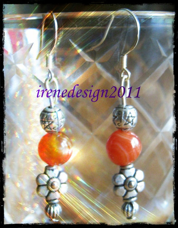 Handmade Silver Earrings with Orange Striped Agate & Flower by IreneDesign2011