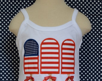 Personalized 4th of July Patriotic Star Flag Popsicle Applique Shirt or Onesie Girl Boy