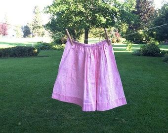 Pink Gingham Checked Half Apron