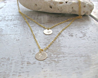 layered initial necklace 14k gold filled circle discs Letter necklace Initial Jewelry letter jewelry monogram necklace monogram jewelry
