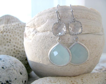 Alice Blue Glass Earrings With Crystal Gemstones Pastel Blue Earrings Light Blue crystal Beach Wedding Bridesmaid Gifts Beach jewelry gift