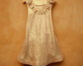Flower Golden Girl Dress in knitted cotton gold golden. Sweet and easy to wear. MADE TO ORDER