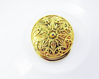 Scarf Clip Gold Tone Art Nouveau Engraved Design Spring Closure Vintage Collectible Gift Item 870