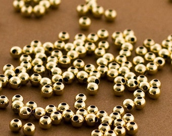 Gold filled Beads, 3mm Gold filled Round Beads, Seamless Gold fill Beads, 14k 14/20 round Beads, 100 PCS, Round gold Beads 3MM