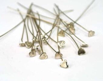 "Sterling Silver Headpins, 22 GA Sterling Silver Head Pins, 2"", 50 pcs, Earring Findings, Silver pins, Head Pin 22GA, Heart Head pin"