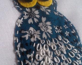 Handmade owl picture, Applique owl, birthday present