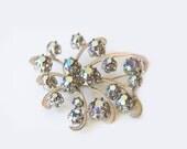 Vintage silver tone brooch, Unsigned brooch, Aurora borealis rhinestone brooch