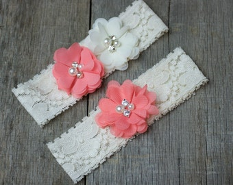 Coral and Ivory Wedding Garter, Shabby Chic Garter
