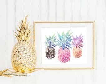 Pineapple print | 8x10 colorful watercolor | modern art | printable home decor (DP25)