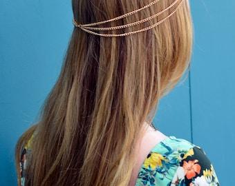 THE VERONA - sale! Gold Hair Three Stranded Chain with Center Crystal Diamond Hair Jewelry Boho Festival Prom Wedding Headpiece head chain