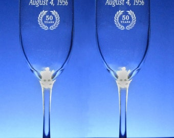 50th  Anniversary Champagne Toasting Flutes - Wedding - 8 oz - wine glass - personalized