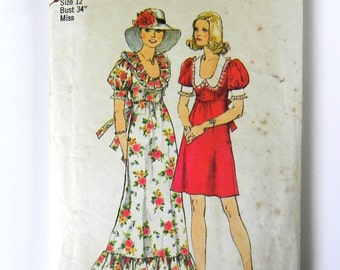 SIZE 12 6279 WOMEN'S Simplicity Sewing Pattern 1974 1970s Vintage Bust 34 Dress Ruffle Neck Puff Sleeves Misses Ladies Womens Tie Frock