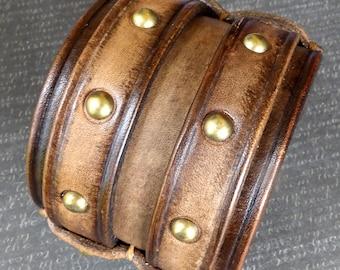 Leather Cuff, Vintage Brown Leather Bracelet, Men's Wristband, Leather wristband, Handmade Wristband