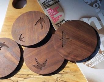 Wood Coasters - Set of 4 - Engraved Wood Coasters - Flying Birds