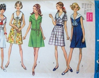 Vintage 1969 Sewing Pattern Simplicity 8583 Dress Bust 34