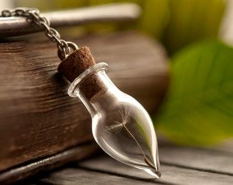 Dandelion necklace, nature glass necklace, wish necklace, wish holder, dandelion seed necklace, best friend necklace, make a wish