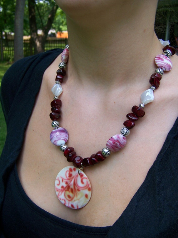 Shell Pendant Necklace, Chunky Red Quartzite White Swirl Necklace, #14