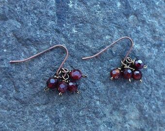 Copper Dangle Earrings with Garnet Beads