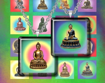 "BUDDHA -  Digital Collage Sheet – 1"" & 1.5"" squares – Printable Download for Pendants, Earrings, Charms"