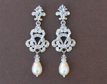 Bridal Chandelier Earrings, Crystal Bridal Jewelry, Crystal and Pearl Earrings, Vintage Wedding Jewelry CELINE