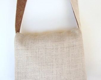 Burlap and Upcycled Pants Messenger Bag