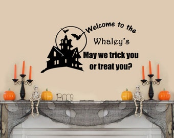 """Personalized Happy Halloween Wall Decal(With Haunted House)- (36"""" X 19"""")"""