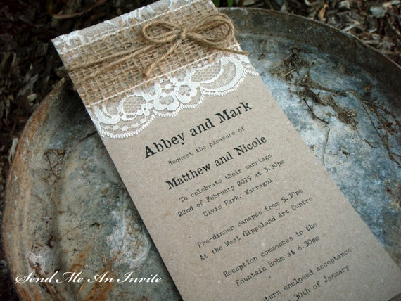 wedding invitation rustic lace and hessian with jute string on With wedding invitations with jute