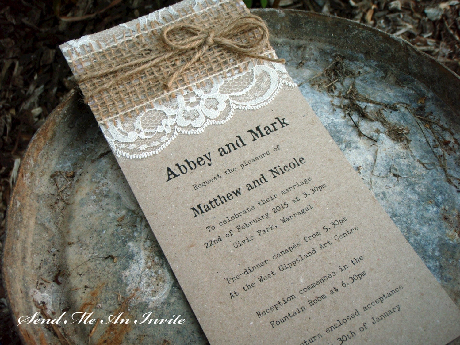 Lace Wedding Invitation: Wedding Invitation Rustic Lace And Hessian With Jute String On