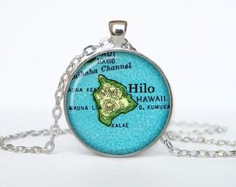 Hilo map pendant, Hilo map necklace, Hilo map jewelry, Hilo the Island of Hawaiʻi