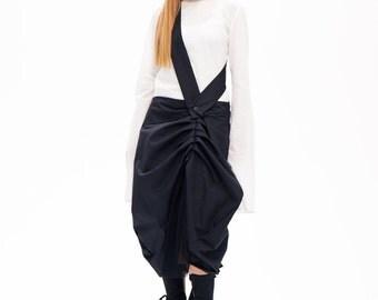 Black Skirt,Black Long Skirt ,Womens High Waisted Skirt,Knee Leght Skirt,Deconstructed Skirt,Women's Clothing,Black Dress,Black Kaftan Dress