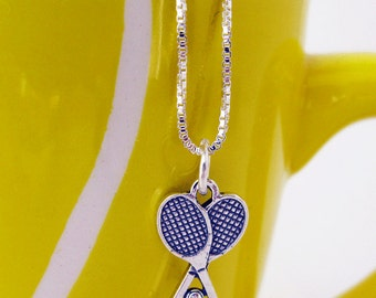Tennis Gifts - Tennis Jewelry- Sterling Silver Tennis Necklace with Sterling Silver Tennis Racquet Charm