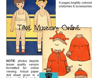 Paper Doll _ Vintage McLoughlin Bros. Paper Dolls to Dress PDF _ Digital Download _ Collage Sheet _ Paper Craft - Art Dolls + BONUS Booklet